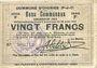 Billets Oignies (62). Commune. Billet. 20 francs 30.8.1914, série F