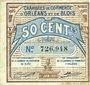 Billets Orléans (45) et Blois (41). Chambres de Commerce. Billet. 50 centimes 1.6.1920