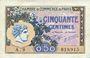 Billets Paris (75). Chambre de Commerce. Billet. 50 centimes 10.3.1920, série A.29