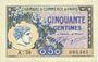 Billets Paris (75). Chambre de Commerce. Billet. 50 centimes 10.3.1920, série A.58