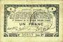 Billets Pas de Calais, Somme et Nord, Groupement de 70 communes. Billet. 1 franc 23.4.1915 série 2B