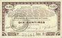 Billets Pas de Calais, Somme et Nord, Groupement de 70 communes. Billet. 10 centimes 23.4.1915 série 9A