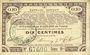 Billets Pas de Calais, Somme et Nord, Groupement de 70 communes. Billet. 10 centimes 23.4.1915 série 9C