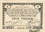 Billets Pas de Calais, Somme et Nord, Groupement de 70 communes. Billet. 2 francs 23.4.1915 série 3E