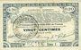 Billets Pas de Calais, Somme et Nord, Groupement de 70 communes. Billet. 20 centimes 23.4.1915 série 1