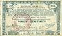 Billets Pas de Calais, Somme et Nord, Groupement de 70 communes. Billet. 20 centimes 23.4.1915 série 1C
