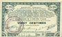 Billets Pas de Calais, Somme et Nord, Groupement de 70 communes. Billet. 20 centimes 23.4.1915 série 1D
