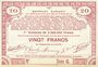 Billets Pas de Calais, Somme et Nord, Groupement de 70 communes. Billet. 20 francs  23.4.1915 série 6