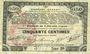 Billets Pas de Calais, Somme et Nord, Groupement de 70 communes. Billet. 50 centimes 23.4.1915 série 2B