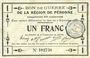 Billets Péronne (80). Bon de guerre de la Région de Péronne. Billet. 1 franc