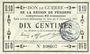 Billets Péronne (80). Bon de guerre de la Région de Péronne. Billet. 10 centimes