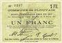 Billets Plouvain (62). Billet. 1 franc 10.2.1915, annulé