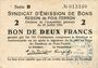 Billets Poix-Terron (08). Syndicat d'Emission. Billet. 2 francs 10.7.1916, série B