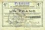 Billets Prémont (02). Commune. Billet. S.Q.G., 1 franc 8.8.1916
