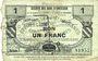 Billets Quiévy (59). Société des Bons d'Emission. Billet. 1 franc 5.3.1916, série 7, 2e émission
