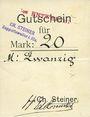 Billets Ribeauvillé (Rappoltsweiler) (68). Ch. Steiner. Billet, carton. G de Gutschein droit. 20 mark
