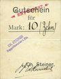 Billets Ribeauvillé (Rappoltsweiler) (68). Ch. Steiner. Billet, carton. G de Gutschein enroulé. 10 mark