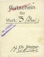 Billets Ribeauvillé (Rappoltsweiler) (68). Ch. Steiner. Billet, carton. G de Gutschein enroulé. 3 mark