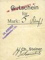 Billets Ribeauvillé (Rappoltsweiler) (68). Ch. Steiner. Billet, carton. G de Gutschein enroulé. 5 mark