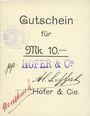 Billets Ribeauvillé (Rappoltsweiler) (68). Hofer & Cie. Billet, carton. G de Gutschein enroulé. 10 mark
