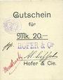 Billets Ribeauvillé (Rappoltsweiler) (68). Hofer & Cie. Billet, carton. G de Gutschein enroulé. 20 mark