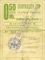 Billets Ribeauvillé (Rappoltsweiler) (68). Ville. Billet, carton. 0,50 mark. Annulation à l'avers par cachet