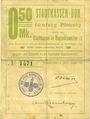 Billets Ribeauvillé (Rappoltsweiler) (68). Ville. Billet, carton. 0,50 mark. Annulation au revers par cachet