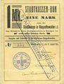 Billets Ribeauvillé (Rappoltsweiler) (68). Ville. Billet, carton. 1 mark. Annulation à l'avers par cachet