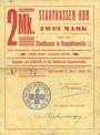 Billets Ribeauvillé (Rappoltsweiler) (68). Ville. Billet, carton. 2 mark. Annulation au revers par cachet