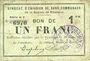 Billets Rimogne (08). Syndicat d'Emission. Billet. 1 franc 30.6.1916, série H 3