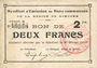 Billets Rimogne (08). Syndicat d'Emission. Billet. 2 francs 20.2.1916, série D