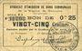 Billets Rimogne (08). Syndicat d'Emission. Billet. 25 centimes 26.4.1917, série U1