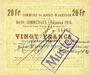 Billets Roost-Warendin (59). Commune. Billet. 20 francs, émission 1915, Essai (Muster) annulé