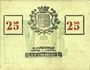 Billets Roubaix (59). Billet. 25 centimes, armoiries (8 mm)
