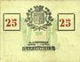 Billets Roubaix (59). Billet. 25 centimes, armoiries (8 mm)