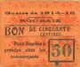 Billets Roubaix (59). Billet. 50 centimes, armoiries (6 mm)