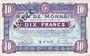 Billets Roubaix et Tourcoing (59). Billet. 10 francs du 20.4.1916, 7e série. N° 8002. ANNULE
