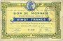 Billets Roubaix et Tourcoing (59). Billet. 20 francs, 4e série. N° 4148