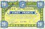 Billets Roubaix et Tourcoing (59). Billet. 20 francs du 20.4.1916, 7e série. N° 7004. ANNULE