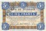 Billets Roubaix et Tourcoing (59). Billet. 5 francs du 20.4.1916, 7e série. N° 9004. ANNULE