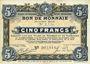 Billets Roubaix et Tourcoing (59). Billet. 5 francs du 27.3.1917, 9e série. N° 2775