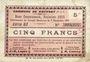 Billets Rouvroy (62). Commune. Billet. 5 francs 7.11.1915, série G3