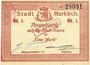 Billets Sainte-Marie-aux-Mines. Ville. Billet. 1 mark (7.8.1914). J. Frey et Kayser. Cachet 31 mm