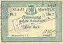 Billets Sainte-Marie-aux-Mines. Ville. Billet. 2 mark (7.8.1914). Bleu clair. M. Dreyfuss et A. Hoff. Cachet
