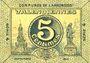 Billets Valenciennes (59). Communes de l'Arrondissement. Billet. 5 centimes, série 4