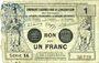 Billets Valenciennes (59). Emprunt Consortium. Billet. 1 franc, série 14