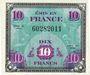 Billets Billet. 10 francs. Drapeau, type américain, 1944, sans n° série. Impression décalée !