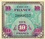 Billets Billet. 10 francs. Drapeau, type américain, 1944, sans n° série