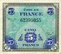 Billets Billet. 5 francs. Drapeau, type américain, 1944, sans n° série