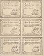 Billets Rouen. Planche de 6 bon de 3 livres du 31.7.1792